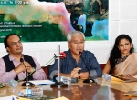 Monita Borgohain, Director, DBHRGFTI, Manish Desai, DG, FD, Jahanu Baruwa, Filmmaker, Swati Pandey, DA, FD during Press Conference of Guwahati Documentary International Film Festival.