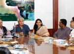 Monita Borgohain, Director, DBHRGFTI, Manish Desai, DG, FD, Jahanu Baruwa, Filmmaker, Swati Pandey, DA, FD during Press Conference of Guwahati Documentary International Film Festival.