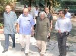 Shri Shyam Benegal, Chairman, MAC along with Shri Adoor Gopalakrishnan, Shri AK Bir and Shri Suresh Chabria during the NMIC meet at FD Mumbai on 09.1.2017.